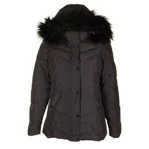 Madden Girl Charcoal Black Faux-Fur Hooded Coat